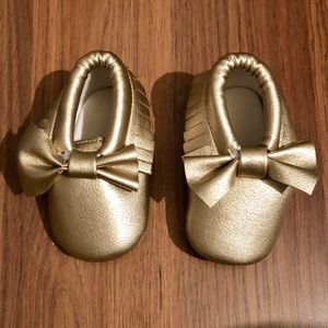 Other - Gold Leather Baby Moccasins